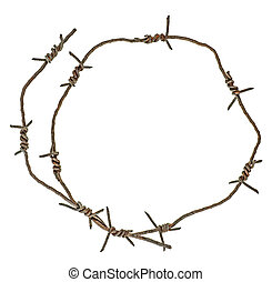 Rusty barbed wire circle isolated on white background