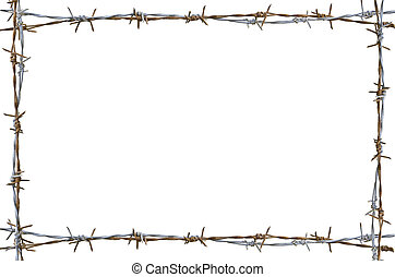 Rusty barbed wire - Frame Rusty barbed wire isolated on...