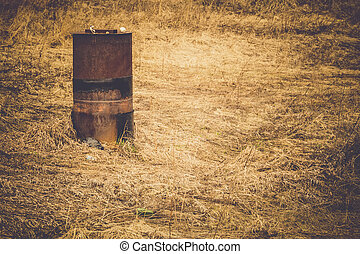 Rusty Barrel on Field