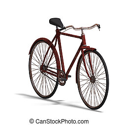 rusty bike - rendering of a old unused bike with Clipping...