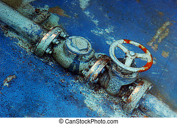 Rusty blue pipes