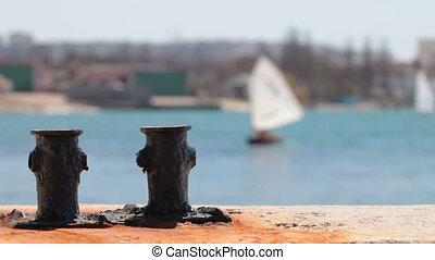 Rusty Bollard at  Harbor
