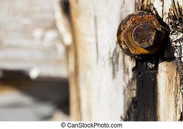Rusty bolt nut detail