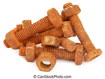Rusty bolts with nuts