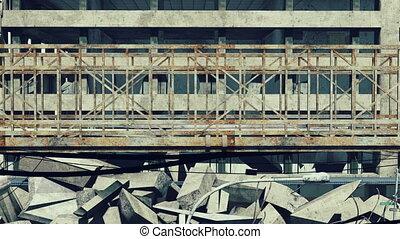 Rusty bridge on a wrecks background - Closeup of the rusty...