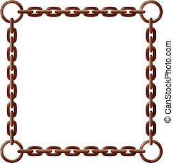 Old rusty chain frame with metal rings