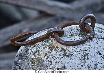 Rusty chain on old wall