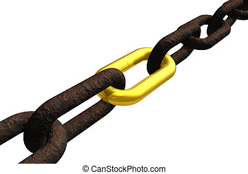 Rusty chain with golden link