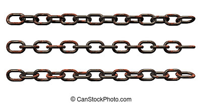 rusty chains - rusty metal chains on white background - 3d...