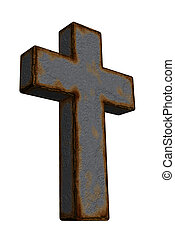 christian cross - rusty christian cross on white background...