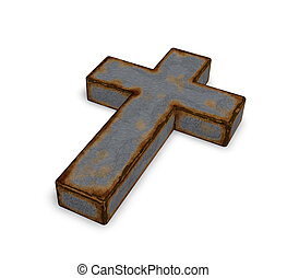 rusty christian cross on white background - 3d illustration