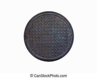 Rusty circle iron manhole cover isolated on white background