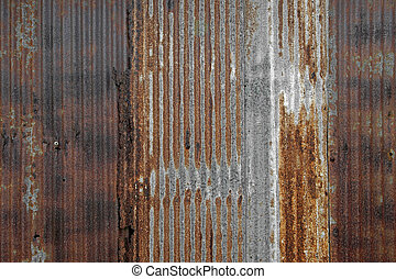 rusty corrugated iron as background or texture