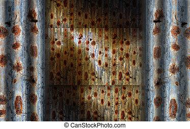 rusty corrugated iron sheets background