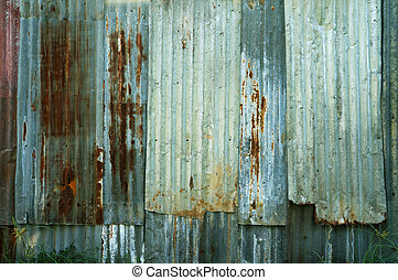 Rusty corrugated metal wall texture background
