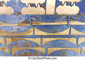 Rusty creative fence made from metal sheet cutting design off