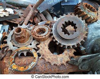 rusty crushed metallic details on the junkyard close-up