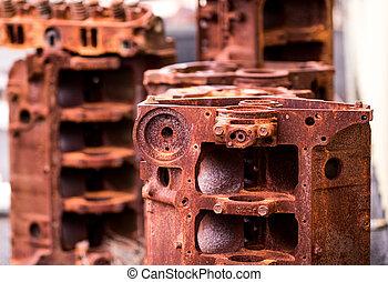 Rusty dismantled engine blocks