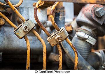 Rusty engine parts