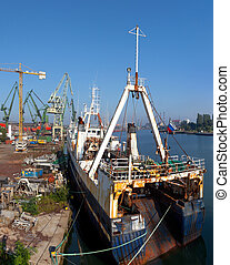 Rusty fishing vessel