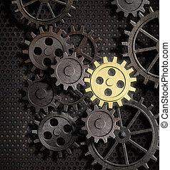 rusty gears and cogs with gold one