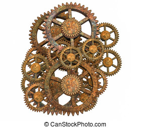 Rusty Gears - Rusty steampunk gears. Isolated on white...
