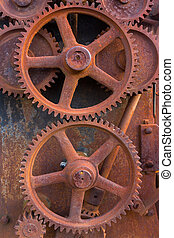 Rusty Gears of Old Machinery Background