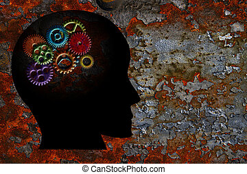 Rusty Gears on Human Head Grunge Texture Background