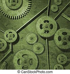 Rusty Gears - Various rusty metal gears on a green ...