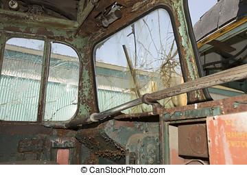 Rusty, grunge damaged trolley car
