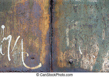 Peeling, corroded and rusty metal background.