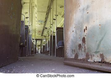 Rusty grunge trolley car interior