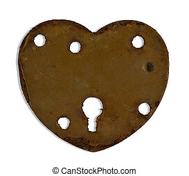heartshaped keyhole - rusty heartshaped keyhole isolated on...