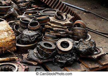 Rusty industrial machine parts