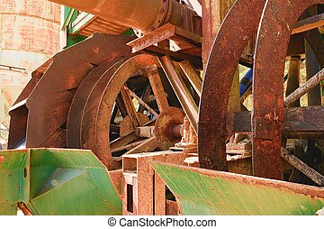 Rusty industrial machine. Rusty parts. Closeup.