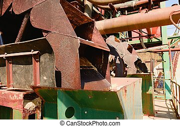 Rusty industrial machine. Rusty parts. Closeup