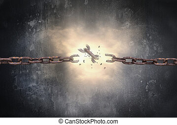 Rusty iron chains broken with spark light and dark wall -...