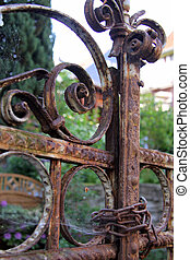 Rusty iron gate in Idstein in Hesse, Germany