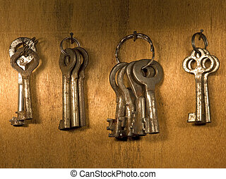 Rusty keys. - Old rusty keys on a wooden wall.