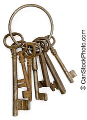 Rusty Keys - Antique bunch of keys isolated on a white...