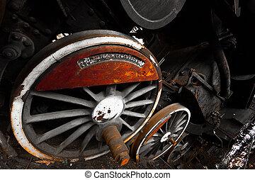 rusty locomotive wheel detail