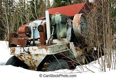 Rusty machine - Rusty old industrial machine dumped in a ...