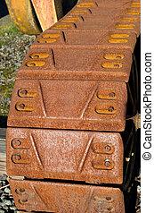Rusty machine treads or track - Treads on a rusty machine in...