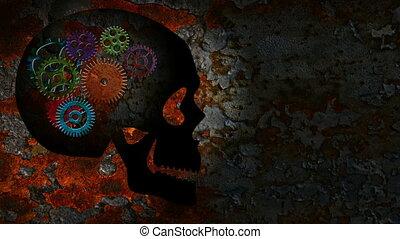 Rusty Mechanical Gears in Skull