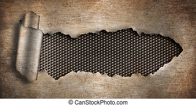rusty metal background ripped hole
