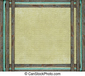 Rusty metal bars and blue on aged canvas