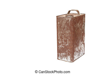 Rusty metal can isolated on white background