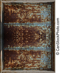 Aged rusty metal frame and background