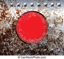 Rusty metal frame with red lamp