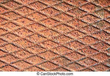 Rusty metal grid background